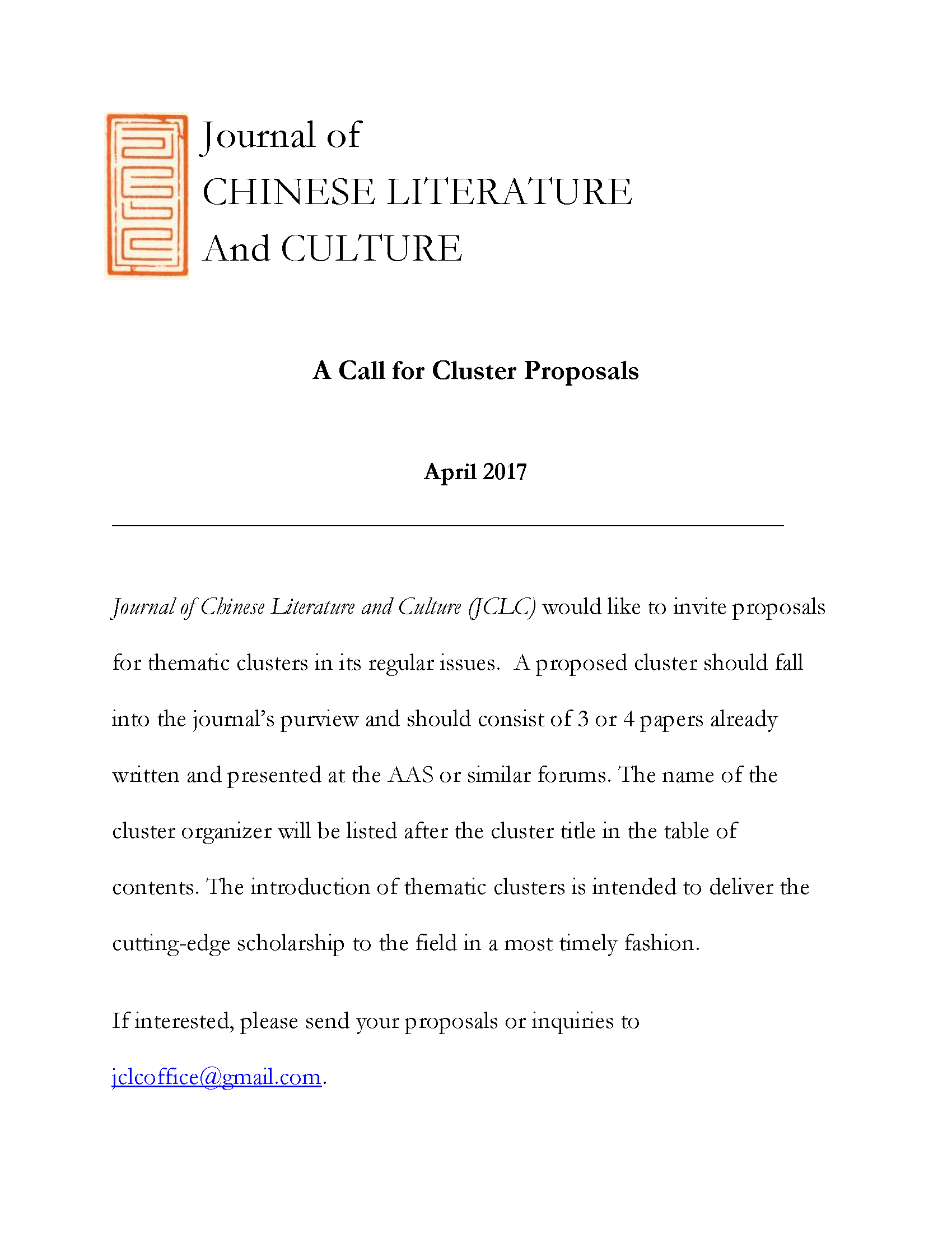 CFP: A Call for Clusters Proposals for JCLC